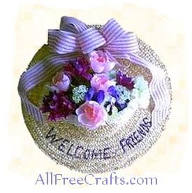 spring hat floral door decoration