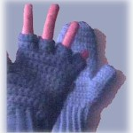 crocheted fingerless mitten top gloves
