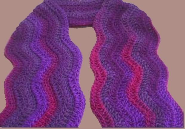 Free Crochet Ripple Wave Scarf Pattern