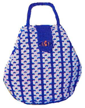 two color knitted hand bag