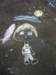 chalk picture of a girl