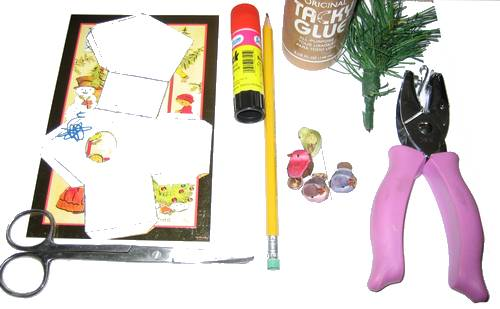 greeting card bird house - supplies