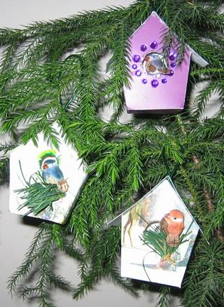 Christmas Birdhouses.Recycled Christmas Card Bird Houses