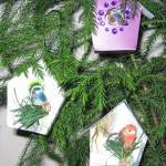 recycled Christmas card bird houses