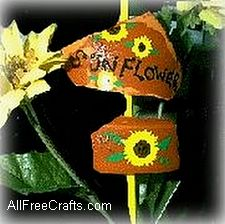 clay pot shards plant markers