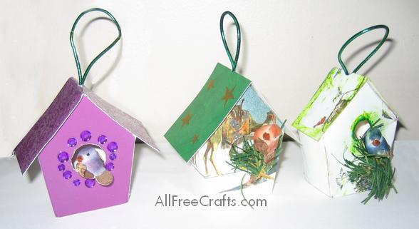 Christmas Birdhouses Crafts.Recycled Christmas Card Bird Houses