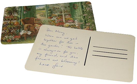 back of homemade postcard