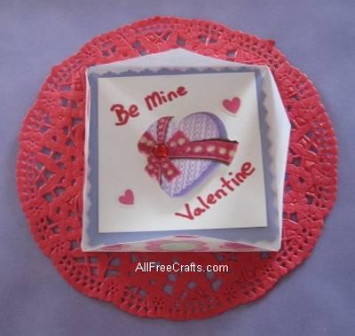 secret Valentine message inside an origami card
