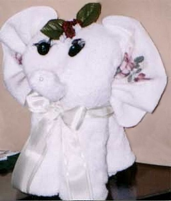 folded hand towel elephant