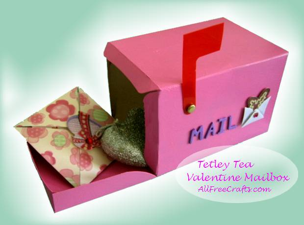recycled Tetley Tea box made into a Valentine mailbox