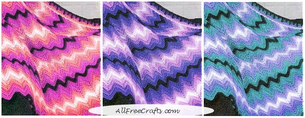 experimenting with color combinations for a chevron crochet afghan