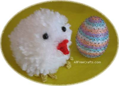 pompom chick and sequin egg