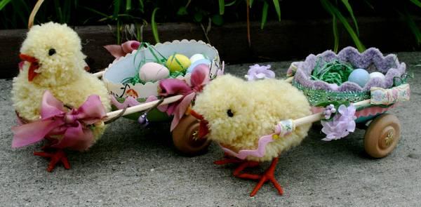 pompom chicks and Easter cart