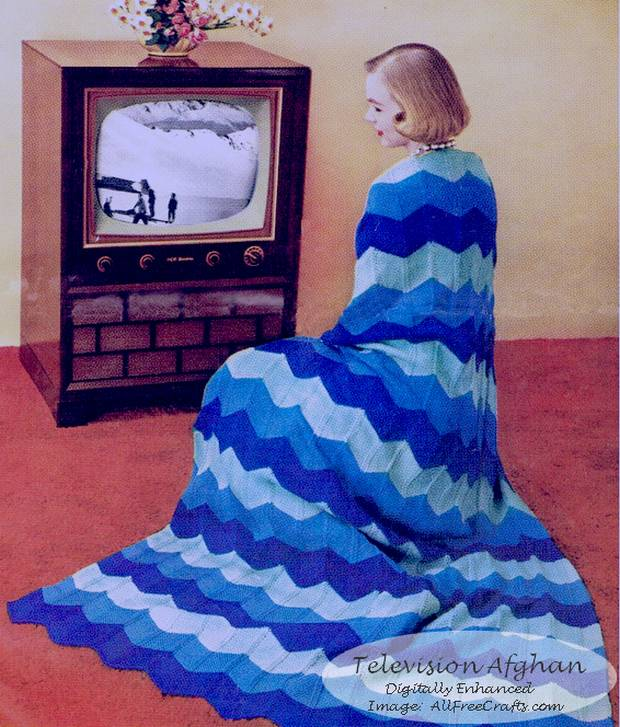 Free Knitted Television Afghan Pattern In Red Heart Worsted