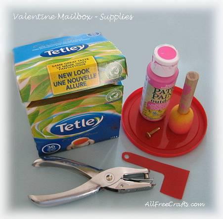 Valentine mailbox supplies - cardboard teabox etc.
