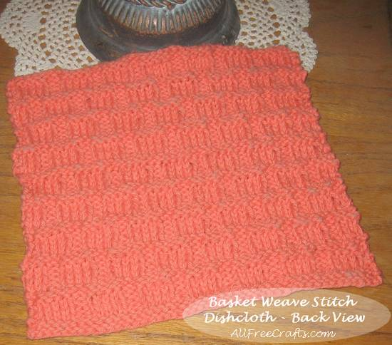 basket weave stitch dishcloth - back view