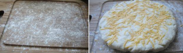form scone dough into a circle on floured surface