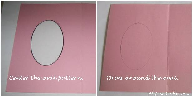 positioning oval pattern on greeting card