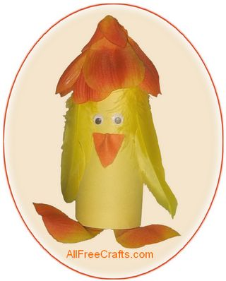 spring paper roll chicken with a tulip hat