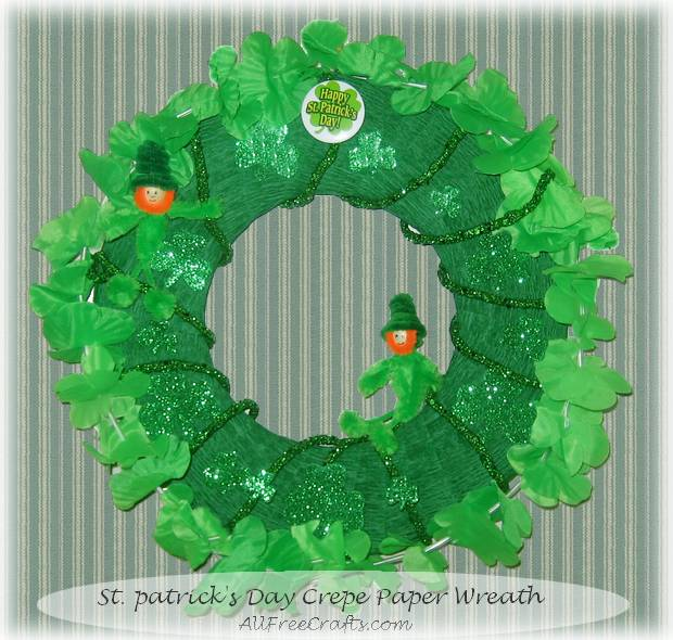 St Patrick's Day wreath made from recycled cardboard and crepe paper