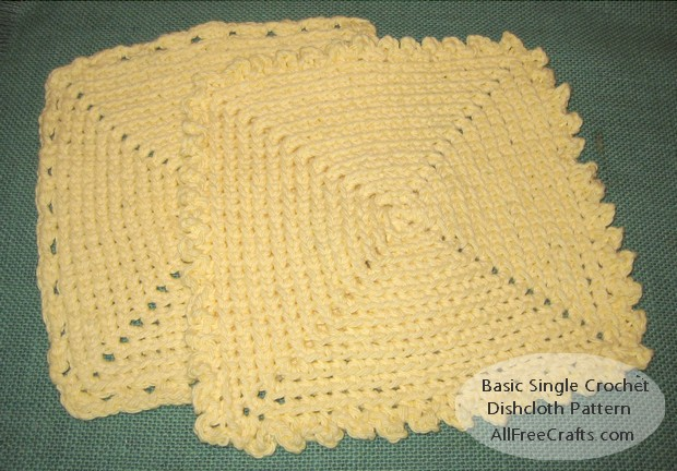 basic single crochet dishcloth with two optional border edgings