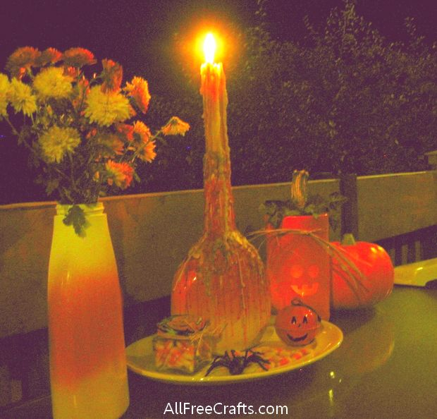 wine bottle candy corn candles