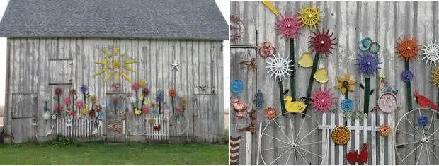painted barn flowers