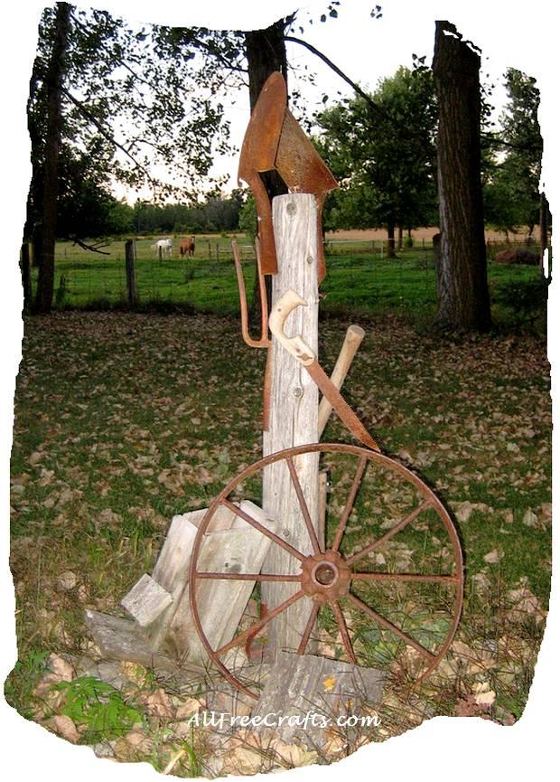 rusty tools garden art