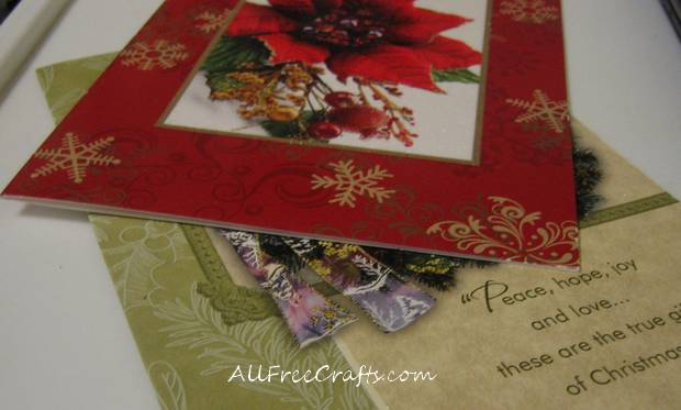 colorful Christmas cards ready for recycling crafts
