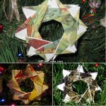 origami stars made from Christmas cards