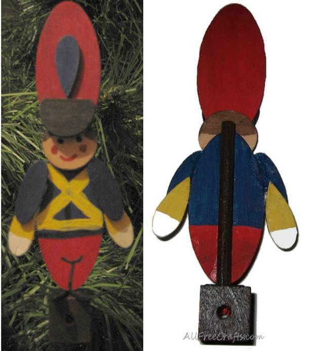 assembling toy soldier from wooden pieces