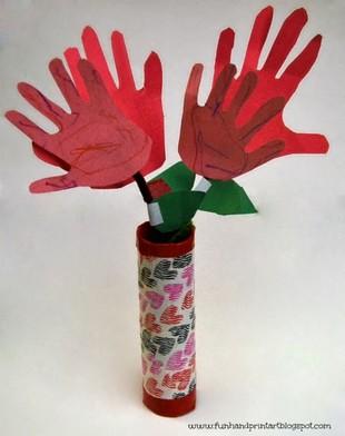 hand print flowers in vase
