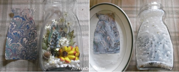 decoupage backing for a fairy jar