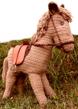 completed crocheted horse