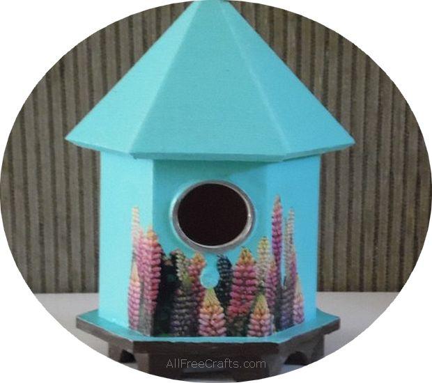 decoupage bird house