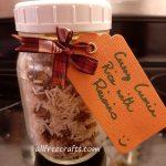curry cumin rice with raisins mix shown in a mason jar