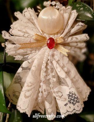 hanging lace ribbon angel