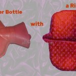 traditional hot water bottle next to a rice pack faux hot water bottle