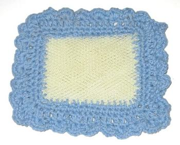 Mesh Pot Scrubber With Crocheted Edge
