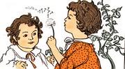 kids blowing dandelions