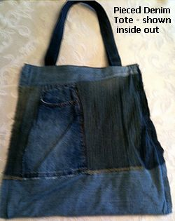 denim tote inside out