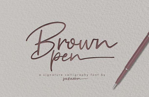 Brown Pen Signature Font
