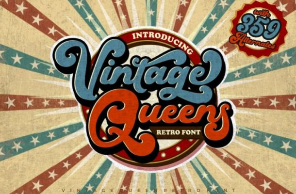 Vintage Queens Retro Script Font