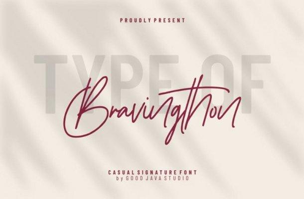 Bravingthon Signature Font Free