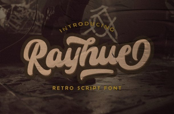 Rayhue – Retro Script Font