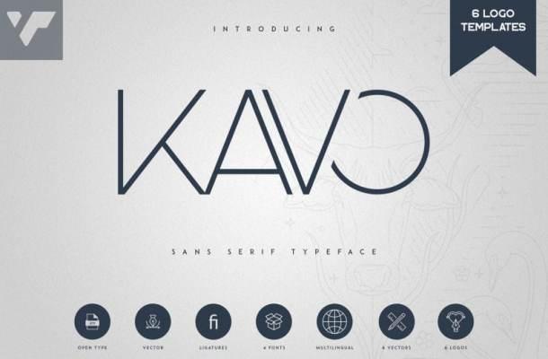 Kavo Sans Serif Typeface – 4 Weight + 6 Logo Templates