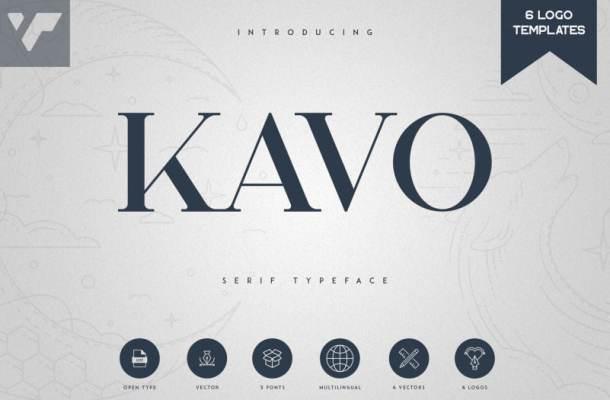 Kavo Serif Typeface – 5 Weights + 6 Logo Templates