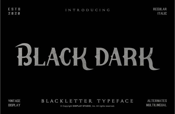 Black Dark Blackletter Display Typeface