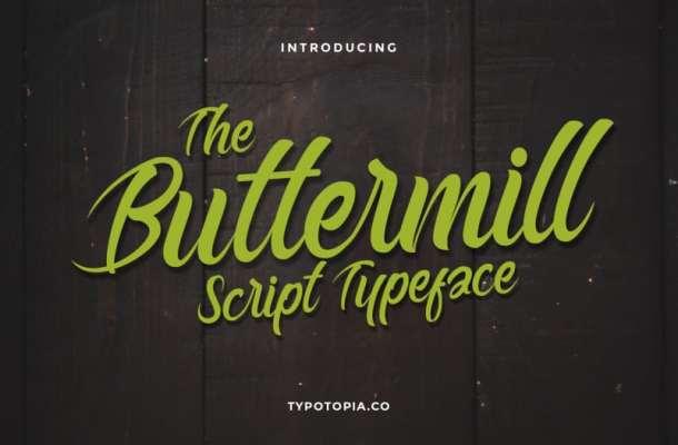 Buttermill Fancy Script Typeface