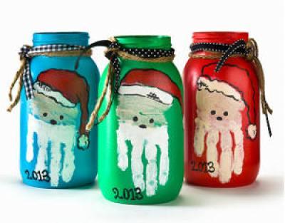 Santa Crafts Kids Can Make - Handprint Art Santa Jars
